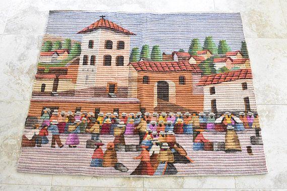 Vintage Folk Art Peru Sheep Wool Wall Hanging Village Tapestry Etsy Wool Wall Hanging Wool Tapestry Folk Art