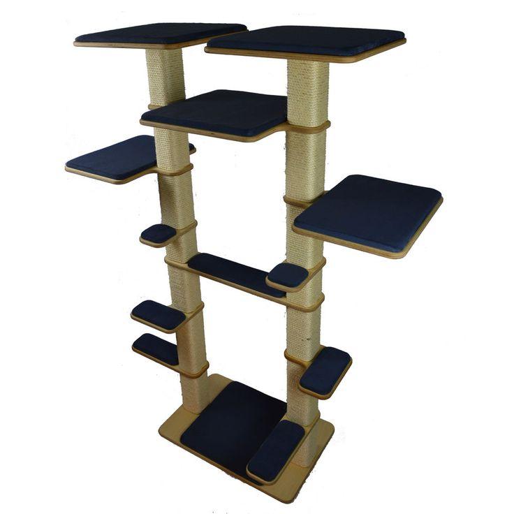 2-Stamm Kratzbaum XXL Modell Cat Tower Katzenkratzbaum Vollholz - EXTREM Stabil