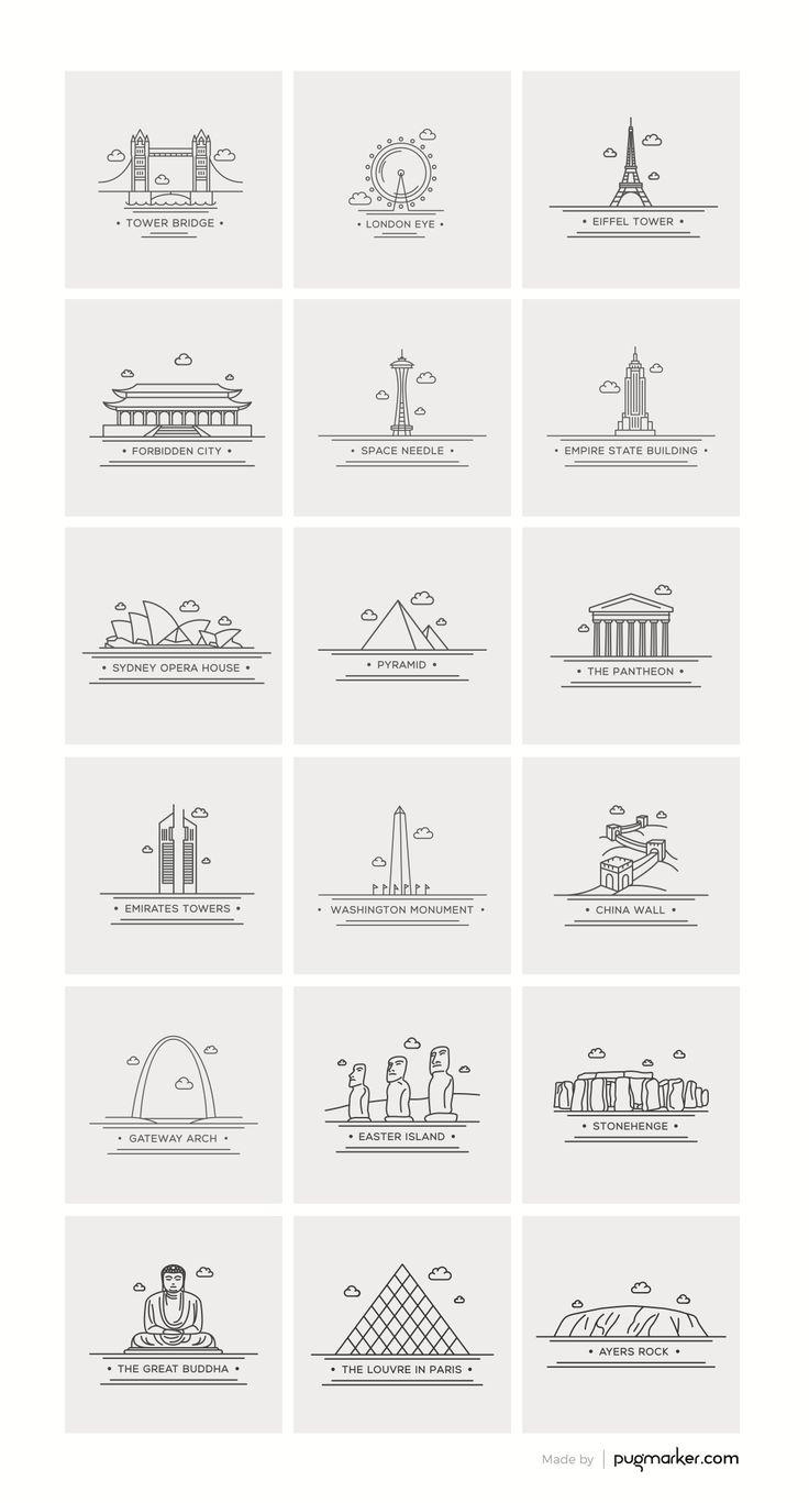 Freebie: World Landmark Icons (AI, EPS, PDF, PNG and PSD)