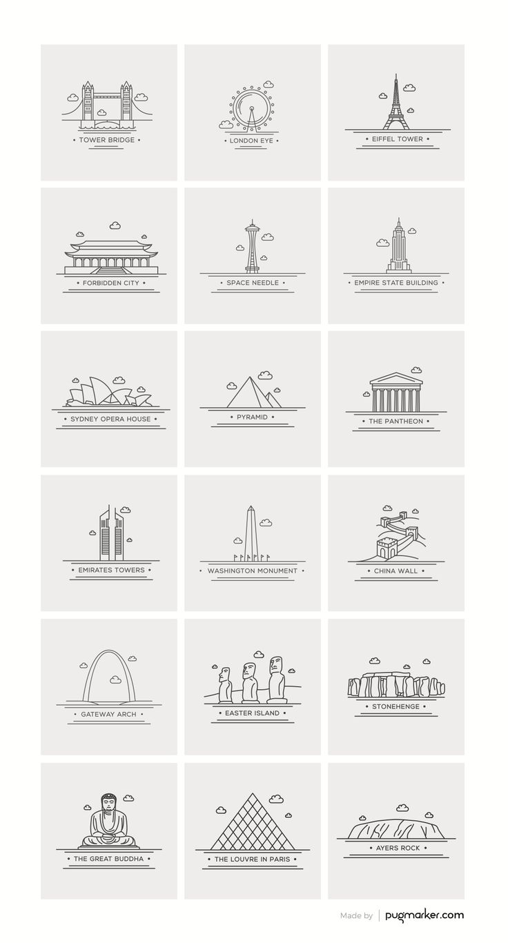 Freebie: World Landmark Icons (AI, EPS, PDF, PNG and PSD)