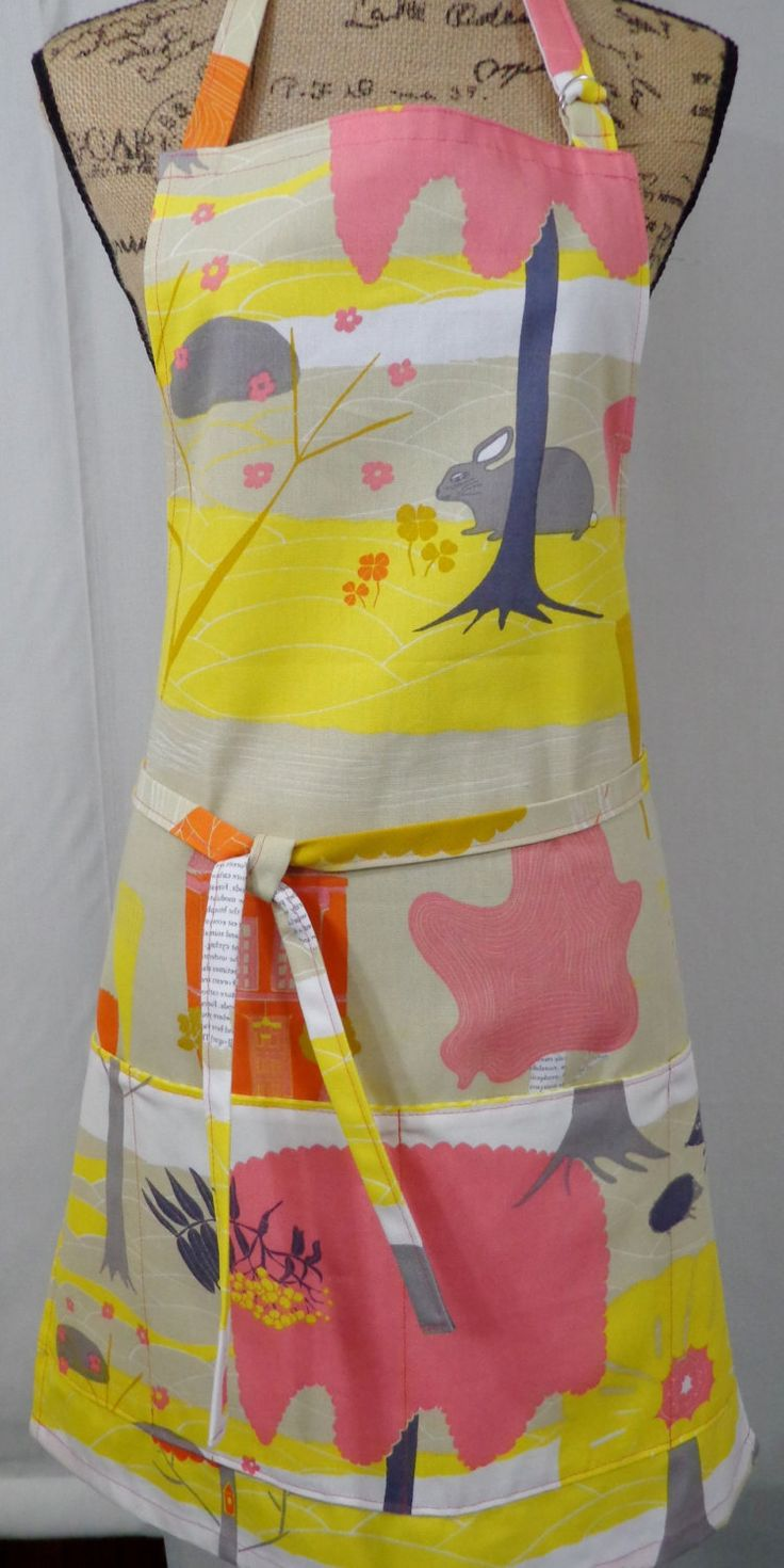 IKEA Full Garden Apron, Pink and Yellow Vendor Apron, Hairdresser Apron, Pet Groomer Apron, Teacher Apron, Pocket Apron by BAGSbyMartha on Etsy