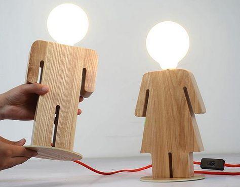 Handgefertigt aus Holz original jungen und Mädchen Lampe Dekorative Lampe Nacht Lampe Massivholz Lampe Vintage dekorative Tischlampe