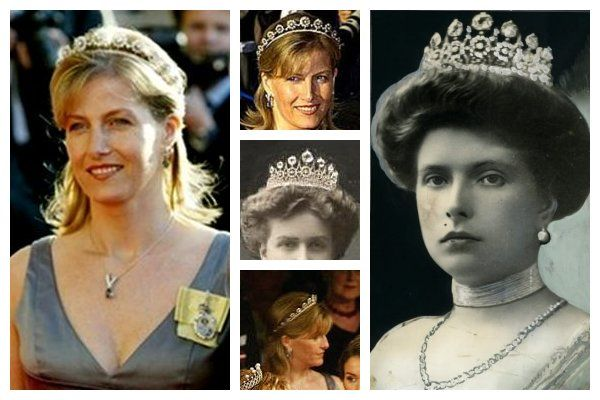The Battenburg Button Tiara: In 2004, the Countess of Wessex wore it at the pre-wedding gala of Prince Frederik & Princess Mary of Denmark. It's the only time she's been photographed wearing it. Based on photographs, this new tiara is made of the button-like elements from a tiara worn by Princess Alice of Battenberg, mother of the Duke of Edinburgh. Edward & Sophie will one day be the Duke and Duchess of Edinburgh. When they married, it was agreed Edward would eventually be given the title.