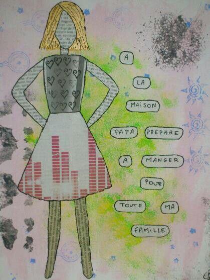 Art femme, collage, journaux, peinture