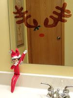Elf on a Shelf idea - Elf draws antlers on the bathroom mirror so everyone…