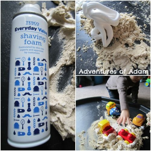 Shaving Foam And Sand Tuff Spot | http://adventuresofadam.co.uk/shaving-foam-sand-tuff-spot/