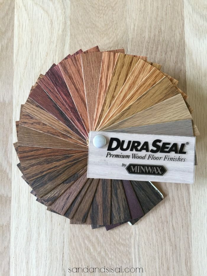 Choosing Hardwood Floor Stains can be overwhelming. See a selection of DuraSeal stains on white oak hardwood flooring.