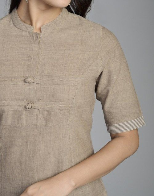 Cotton Khadi Elbow Sleeves Border Long Kurta