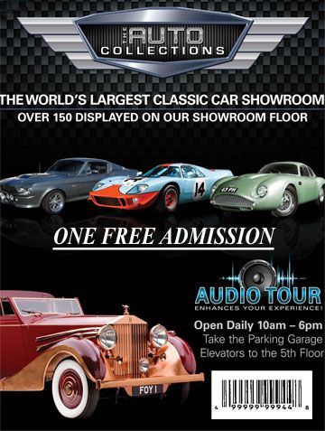 One FREE Ticket - print for free admissions to The Auto Collections at The Quad Resort & Casino - off the strip N of the hotel