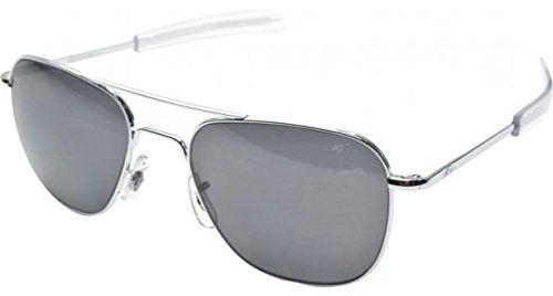 AO Eyewear Original Pilot Sunglasses 52mm Silver Frames with Bayonet Temples and True Color Grey Glass Lenses (OP52S.BA.TC)