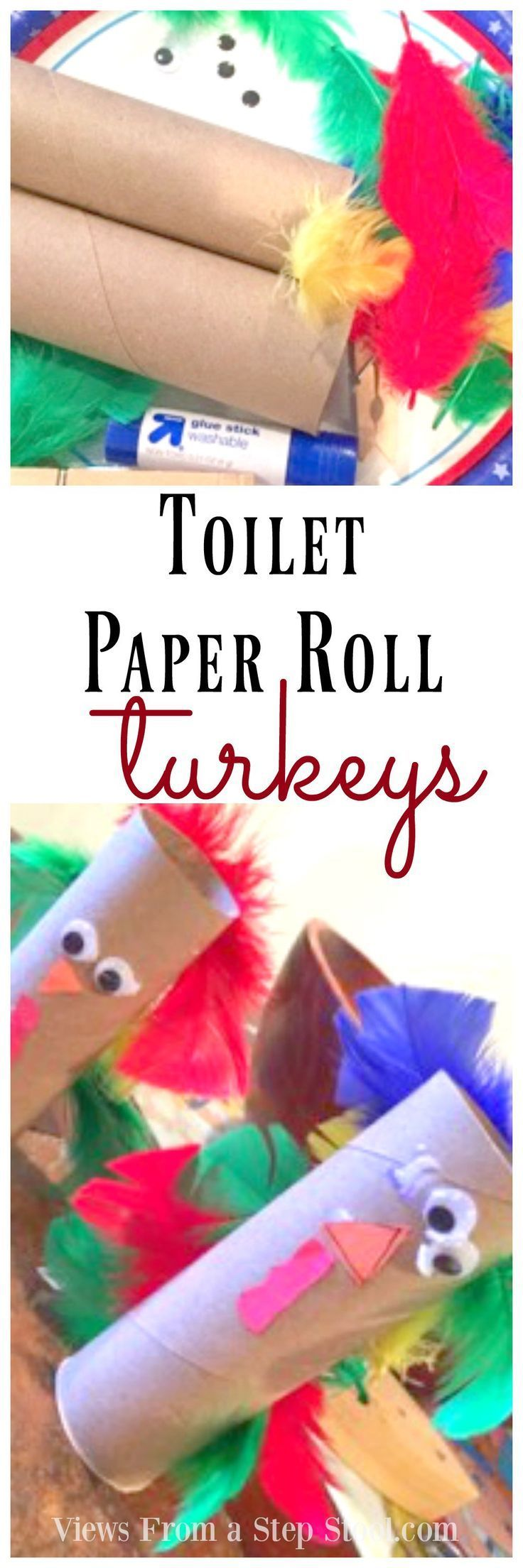 Toilet paper roll turkey thanksgiving craft for kids Toilet paper roll centerpieces