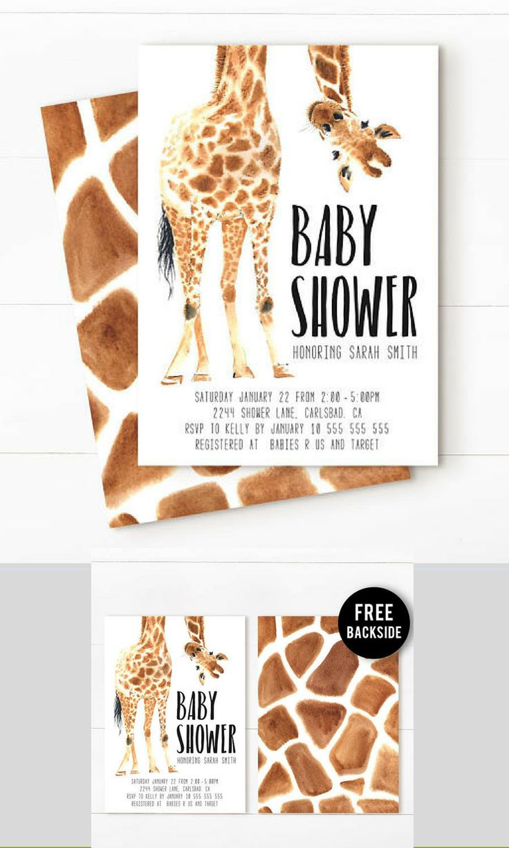 Giraffe baby shower invitations. So cute. #baby #invitations #download #digital