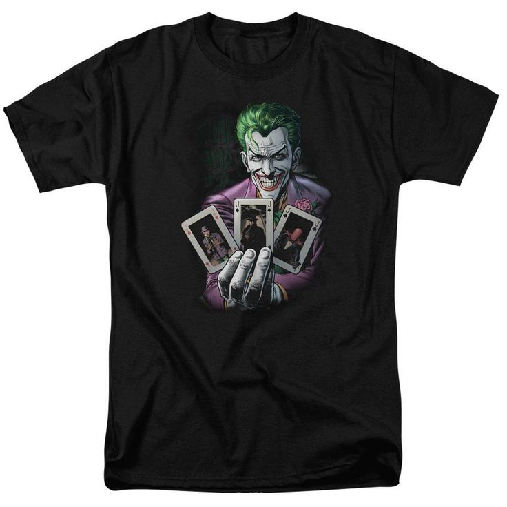 The Joker Cards Adult Black T-Shirt from Warner Bros.: This shirt features The Joker full of tricks. Pick a card,… #Movies #Films #DVD Video
