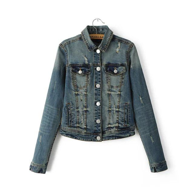 New Ladies Denim Jackets Outerwear Jeans Coat Classical Jackets Women Fashion denim Coats hole Female Jackets