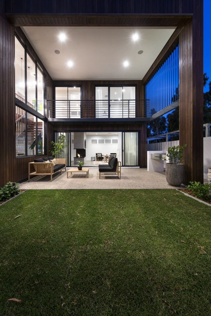 modern outdoor living melbourne. decoration, elegant outdoor living room with led lighting above black sofa and small wooden table modern melbourne