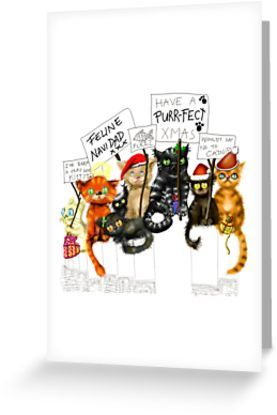 Christmas cards with a difference! Get these unique cat designer cards for a purr-fect Xmas!    #cats #christmascards