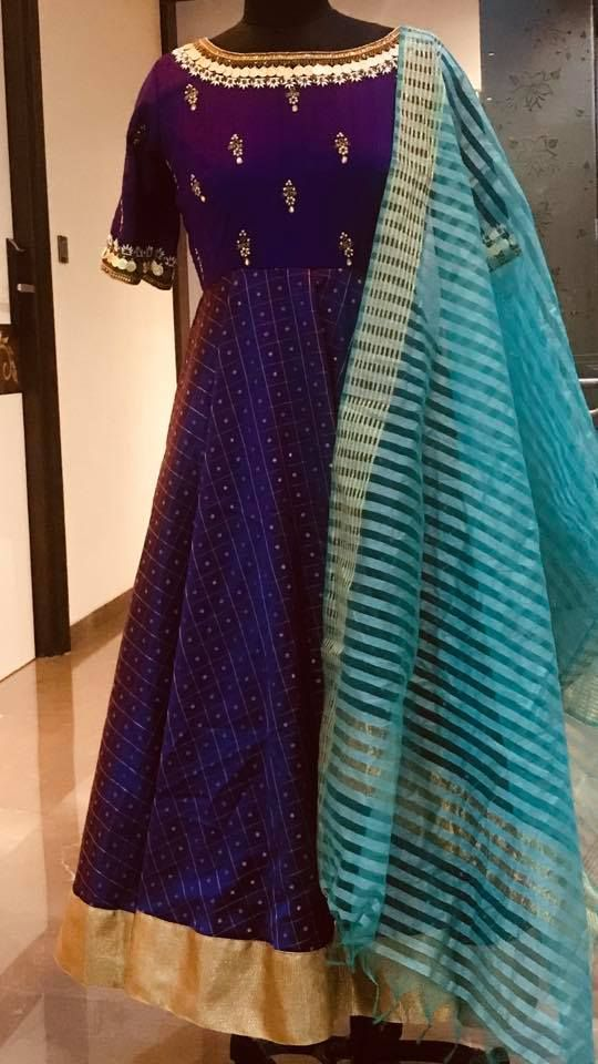 ac33c05db55d2 Stunning purple color floor length ananrkali dress with striped dupatta.  dress with big gold boarder. Ananrkali dress with earrings design hand  embroidery ...