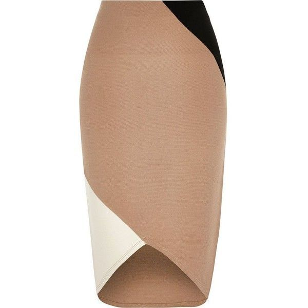 River Island Beige block jersey pencil skirt ($56) ❤ liked on Polyvore featuring skirts, beige, tube / pencil skirts, women, panel skirt, fitted pencil skirt, river island, color block skirt and fitted skirts