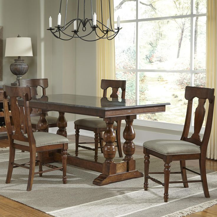 Andover Park 5 Piece Trestle Table And Side Chair Dining Set By AAmerica At Johnny Janosik