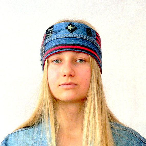 Crazy hippie boho jeans headband cap head warmer.Tied spring hat.Fantasy appliqued recycled,head warmer hippie boho.