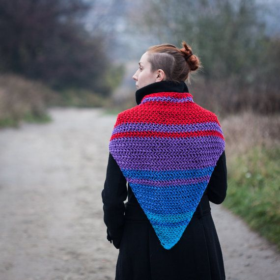 Red Purple Blue Turquoise Triangle Scarf / 100% by RUKAMIshop