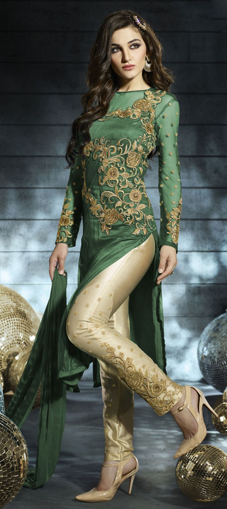456249: Green color family semi-stiched Party Wear Salwar Kameez .
