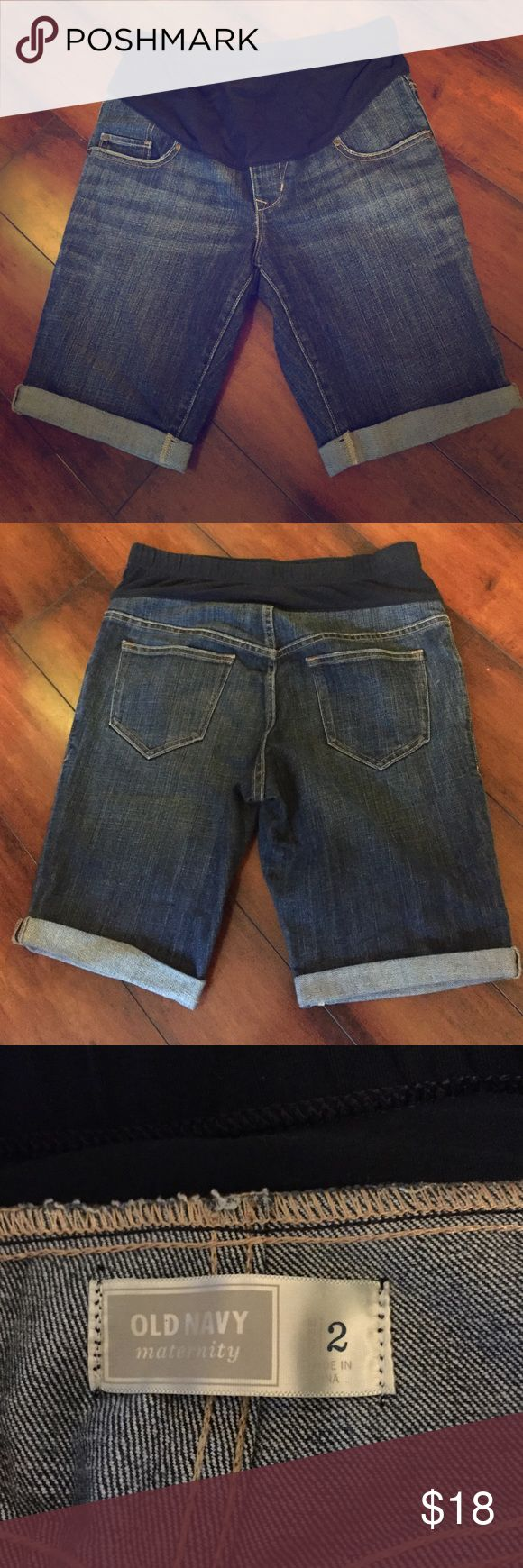 """Old Navy   Maternity Shorts Cute cuffed bottom shorts in medium wash. Like new, no damage. Very modest 9.5"""" inseam, so a Bermuda shorts length for some. Old Navy Shorts Jean Shorts"""