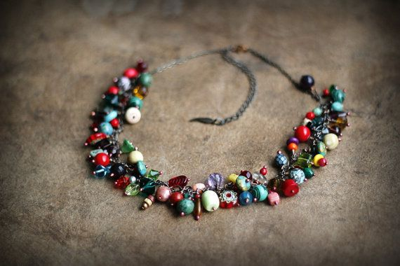 Chain Cascade Mojo Charm Necklace Chunky Bead Cluster by Triballa