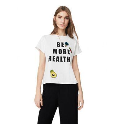 Mango White 'Healthy' patchwork t-shirt | Debenhams