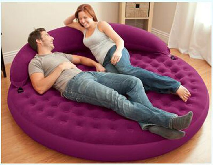 Intex Round Shape 191 53cm 2 Person Double Size Air Mattress Inflatable Bed Airbed Camping Mattress Sofa Bed Living Sofa Bed Living Room Inflatable Sofa Bed