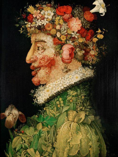 #6 MIJN MENING: Het mooie in het bloemen gebruik is dat het laat zien dat het hoofd bloeit. De borst en nek zijn voornamelijk groen en onkruid, terwijl het hoofd mooi met bloemkoppen is gevult. En omdat bloemblaadjes zoveel kleuren kunnen hebben word het meteen ook een heel kleurrijk beeld.   Giuseppe Arcimboldo, Spring, 1563.