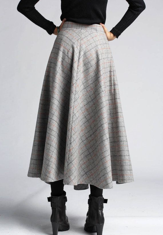 Gray Plaid Wool Skirt Maxi Long Classic Style Winter by xiaolizi