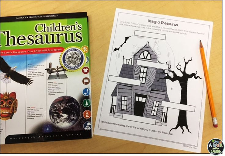 Students use the thesaurus to describe a haunted house. This fun Halloween activity is great for building Word Reference Skills. (Grades 2-4)