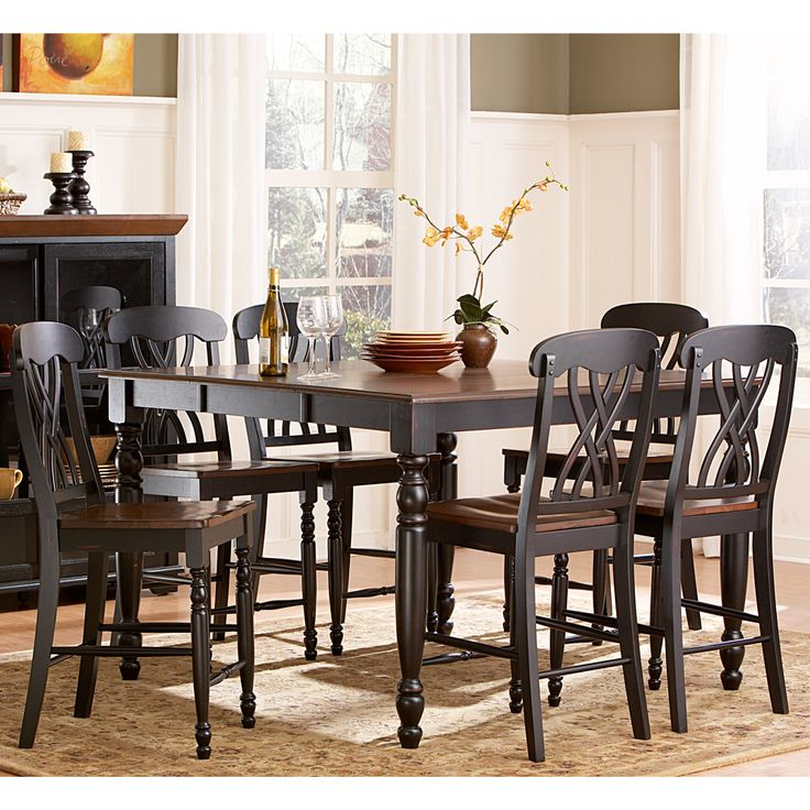 Mackenzie 7 Piece Antique Black Dining Table Set | Overstock.com