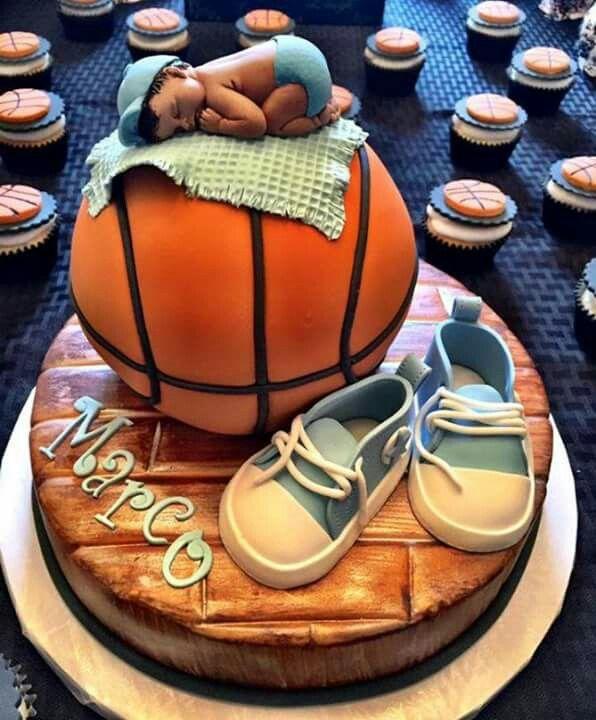 Boy basketball baby shower cake