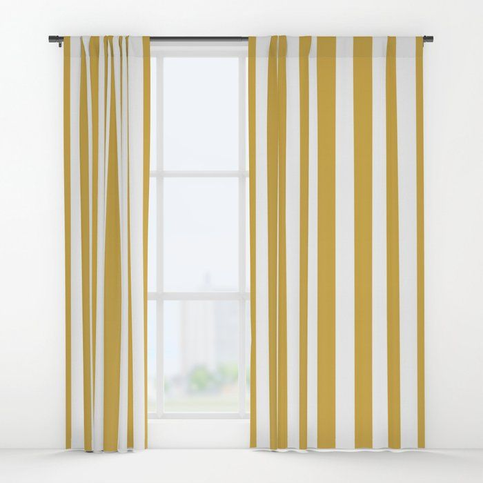 Large Mustard Yellow And White Cabana Tent Stripe Window Curtains