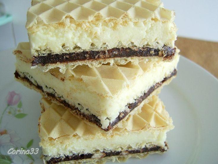 Napolitane cu crema de lapte praf si biscuiti