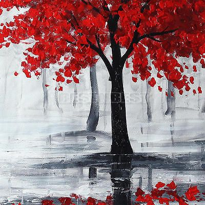 Large Modern Abstract Red Black Tree Hand-paint Oil Paintings Canvas Art Decor | Art, Paintings | eBay!