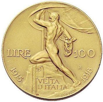 "100 Lire oro 1915 Italia. ""Vetta D'Italia"""