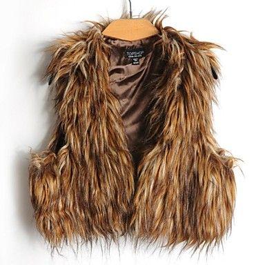 chalecos de piel chaleco de piel sintética corta longitud manera marrón - USD $ 26.99