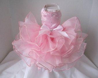 Dog Dress XS pink with white polkadotstutu by NinasCoutureCloset