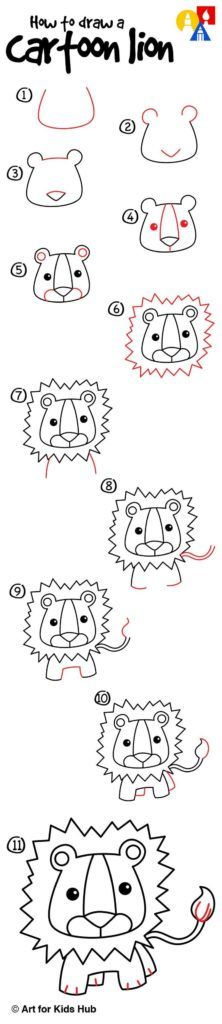 how to draw a cartoon lion art for kids hub