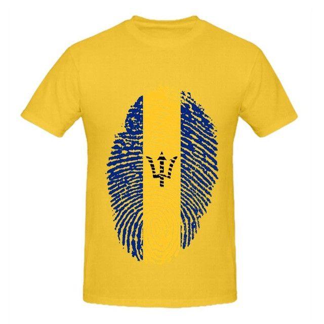 Barbados Flag Fingerprint Men's T-Shirt
