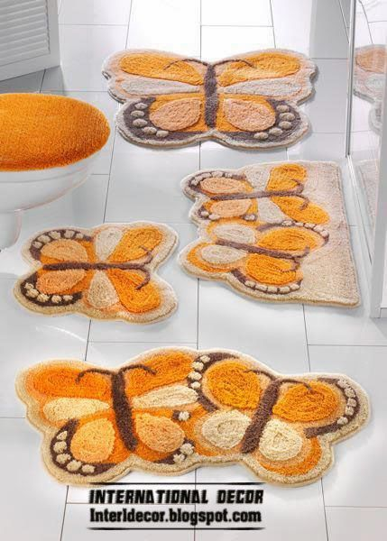 orange butterfly bathroom rug sets and rugs