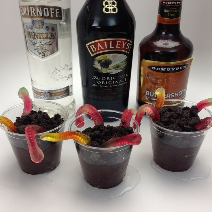 Drunken Dirt Worms- Box of Oreo Cookies, 6 oz. Pack Chocolate Instant Pudding, 2 Cup Milk, 2 Cups Booze (Baileys, Butterscotch Schnapps, Vanilla Vodka), 4 oz. (120ml) Whipped Cream, Gummy Worms