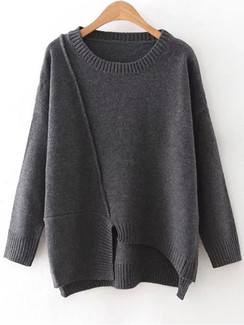 Irregular Hem Round Collar Jumper - GRAY ONE SIZE