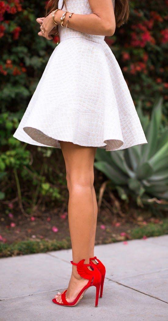 white full skirt with red heel