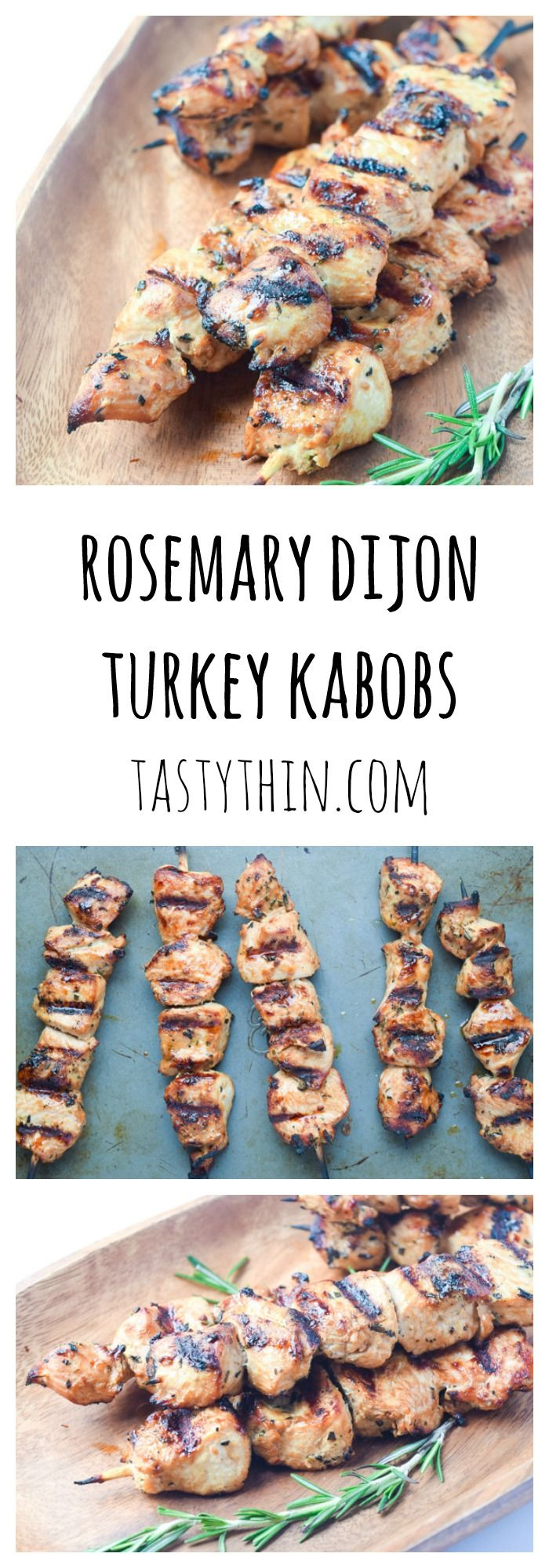 Rosemary Dijon Turkey Kabobs - a fresh tangy marinade is the perfect compliment to these grilled turkey tenderloin kabobs.   tastythin.com