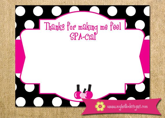 INSTANT DOWNLOAD Printable Spa Party Thank You Card DIY - spa manicure pedicure girl birthday party nail polish pink child polka dots