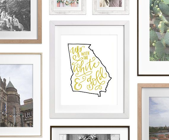 Art Print - Georgia Tech / Up with the White and Gold. An original hand lettered modern calligraphy art print. A great addition to your home decor this football season! #gt #georgiatech #yellowjackets #football #sec #homedecor #decor